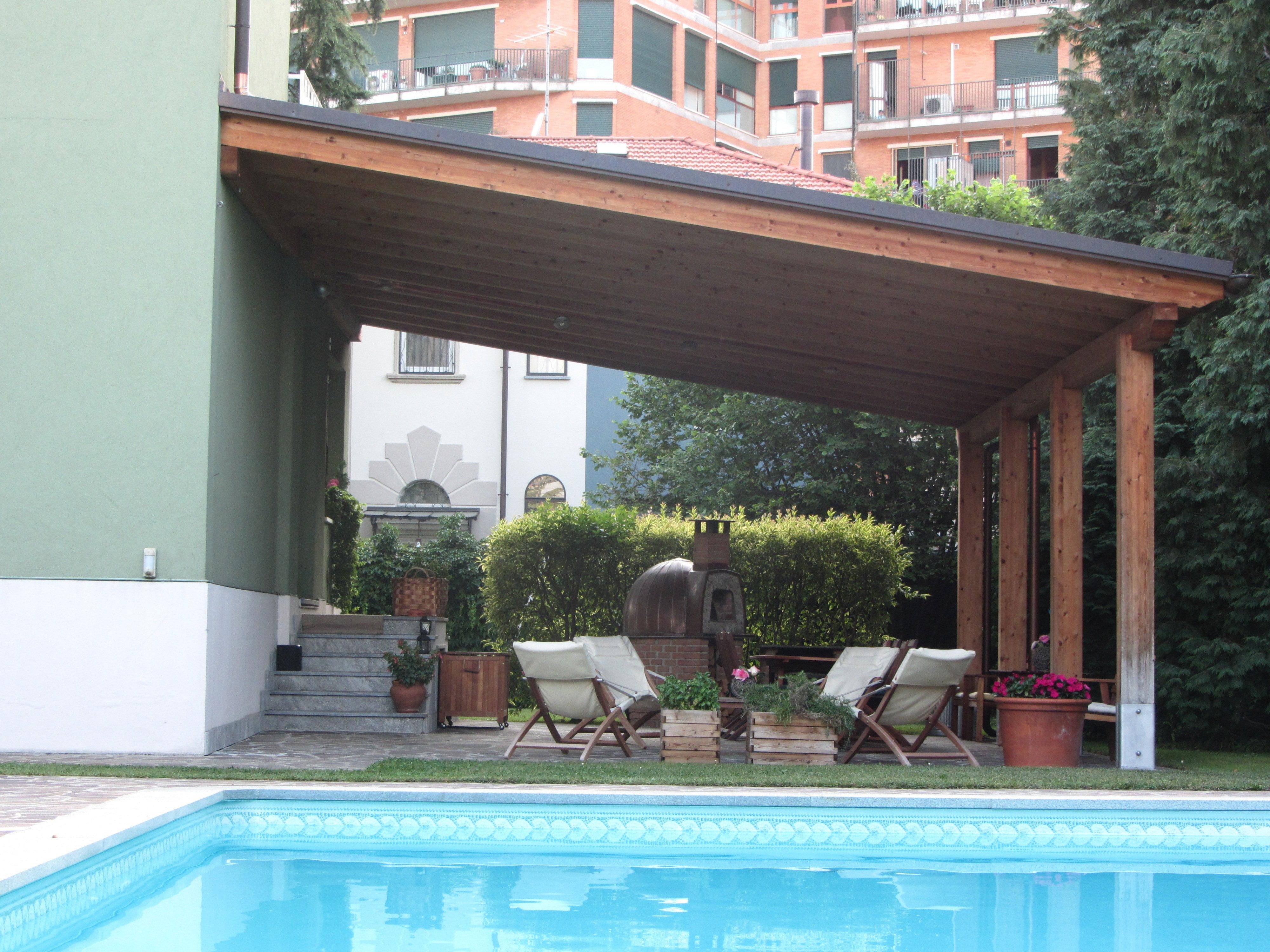 1 tettoia legno lamellare completa di lattoneria - perego (lecco