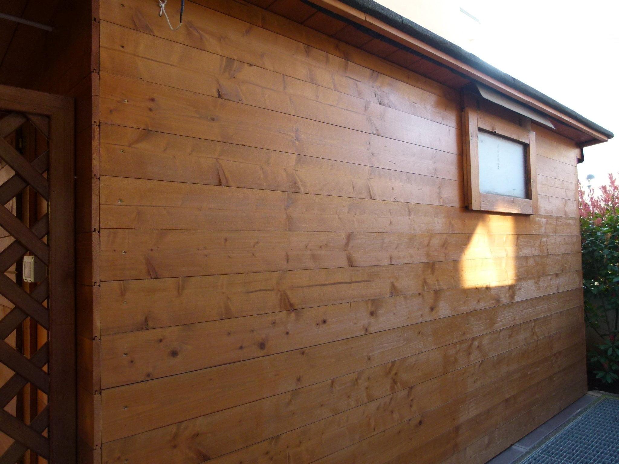 Perline abete impregnato parete esterna vilalsanta monza e brianza cereda legnami agrate - Rivestire parete in legno ...