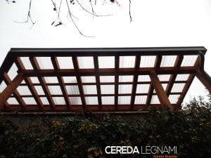 tettoia legno lamellare e policarbonato