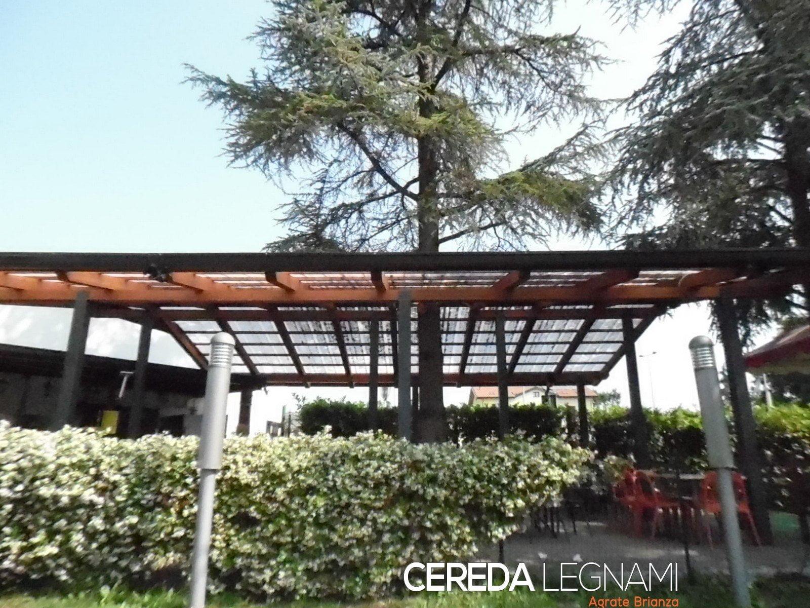 Tettoia in legno con albero for Immagini di tettoie in legno