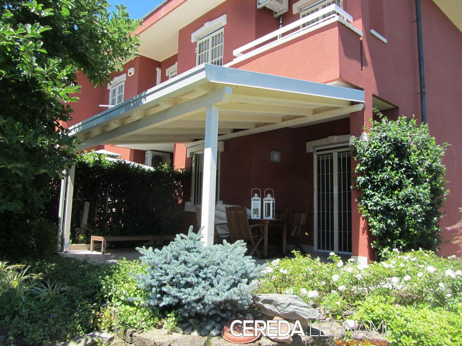 Veranda legno lamellare cereda legnami agrate brianza - Costruire veranda in giardino ...