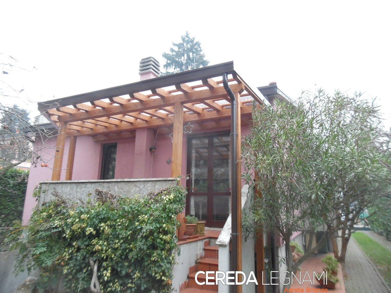tettoia addossata per balcone o terrazzo - Cereda Legnami Agrate Brianza