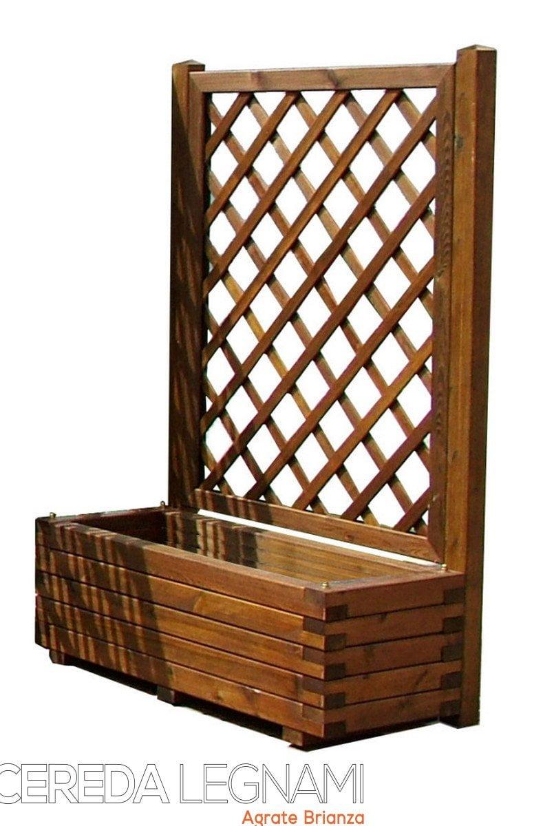 Fioriera con spalliera in legno cereda legnami agrate for Vasi di legno