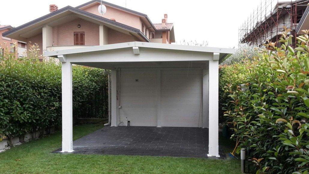tettoie legno lamellare bianca per esterno - Cereda Legnami Agrate Brianza