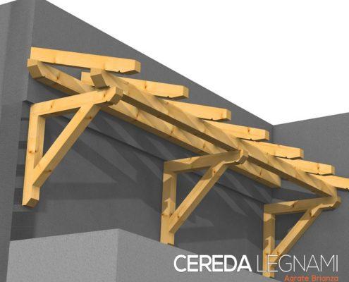 pensilina in legno su misura realizzata da Cereda Legnami - Brianza