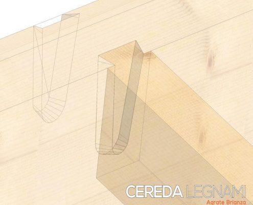 Disegno sezione tetto con sistema incastro senza colle