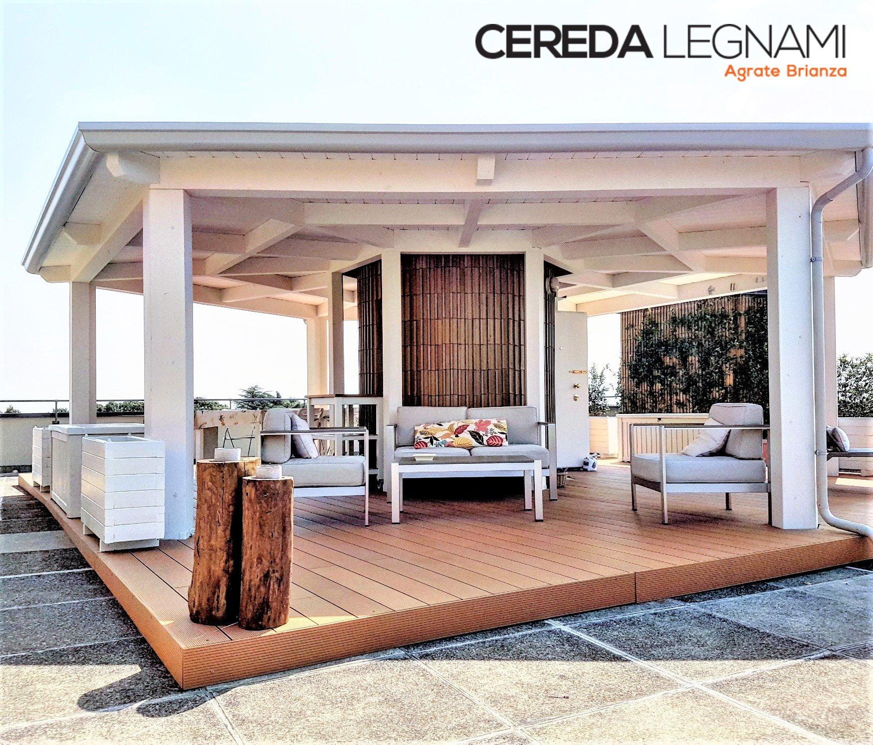 Veranda moderna design in legno lamellare bianco cereda for Rivestimento perline legno bianco