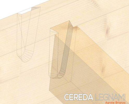 Giunto a coda di rondine per ridurre spessori soppalchi in legno, solette e solai.