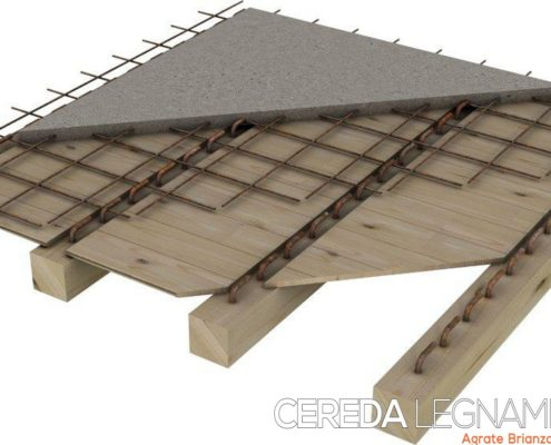 schema di solaio o soletta in legno con getto di cemento collaborante