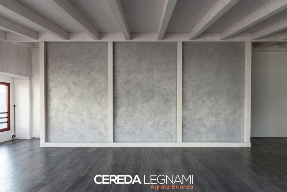 Controsoffitto in legno con perline e travetti - Cereda Legnami